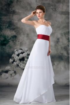 A-Line Sleeveless Pleats Satin Chiffon Floor-Length Best Long White Bridesmaid Dresses 02010192