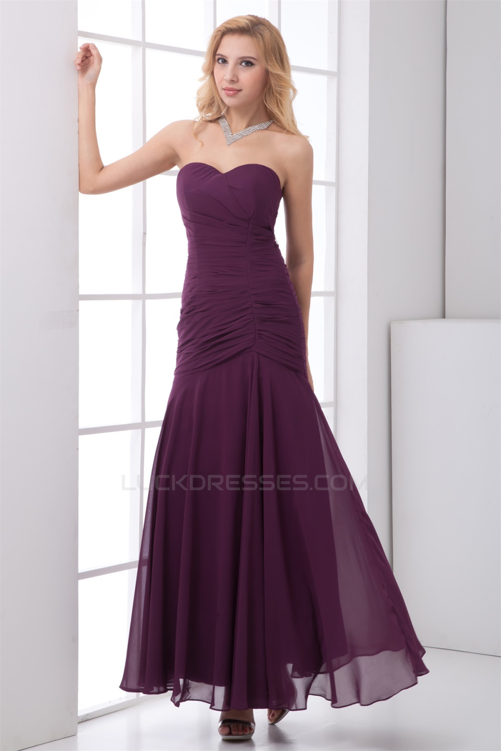 ankle length wedding dress sleeveless ruched ankle length chiffon best bridesmaid 1312