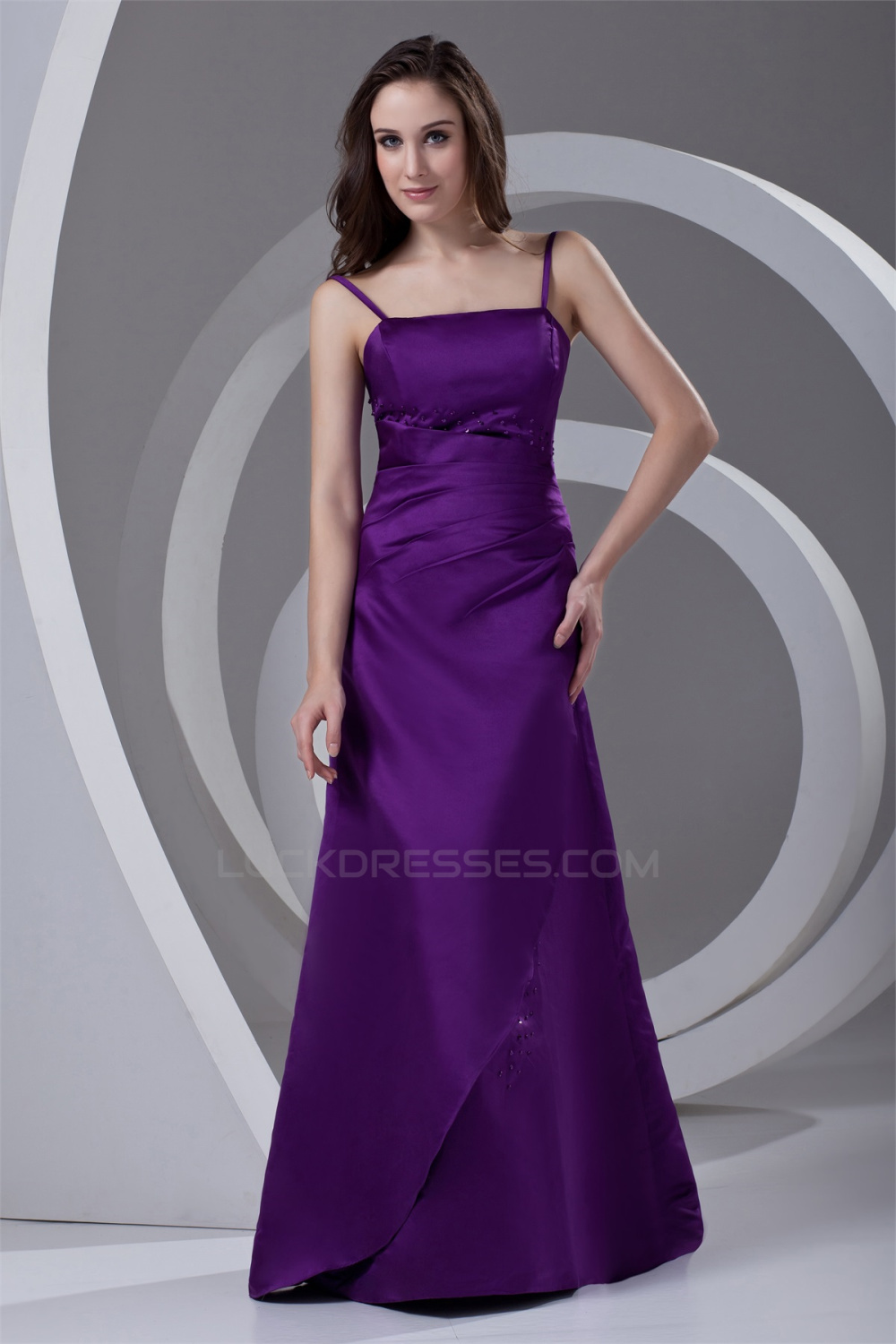 A-Line Spaghetti Straps Satin Beading Floor-Length Long Purple ...