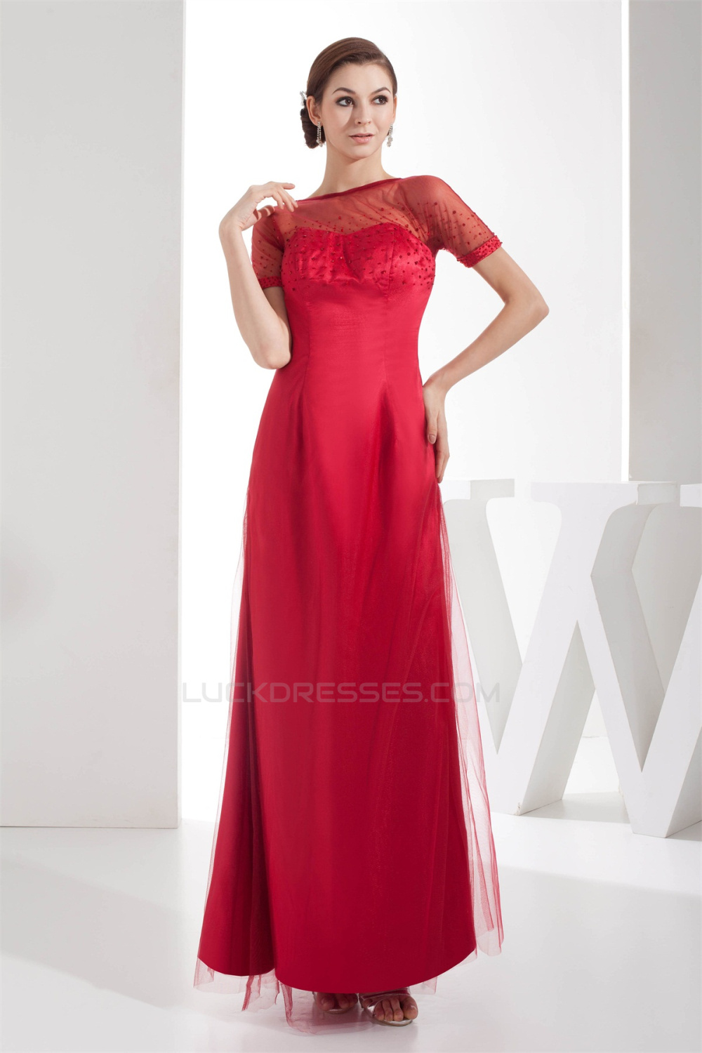 Ankle-Length Scoop A-Line Fine Netting Long Red Bridesmaid Dresses ...