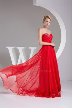 A-Line Sweetheart Beaded Long Red Chiffon Bridesmaid Dresses 02010220