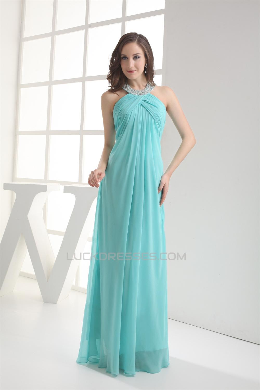 Sheath/Column Halter Chiffon Long Bridesmaid Dresses Maternity ...