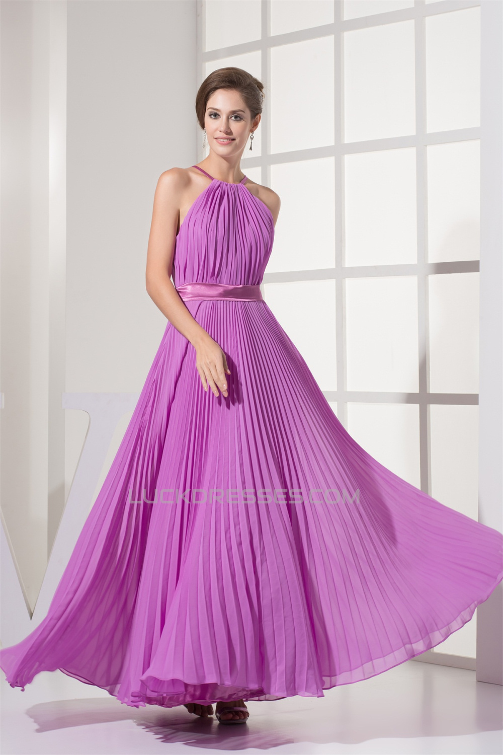 A-Line Sleeveless Pleats Floor-Length Long Bridesmaid Dresses 02010225