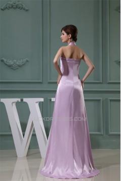Empire Halter Beaded Silk like Satin Beading Long Bridesmaid Maternity Dresses 02010230