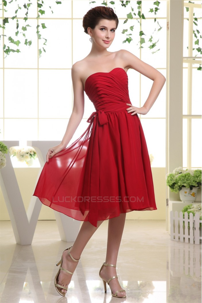 A line sweetheart knee length chiffon short red bridesmaid for Short red wedding dresses
