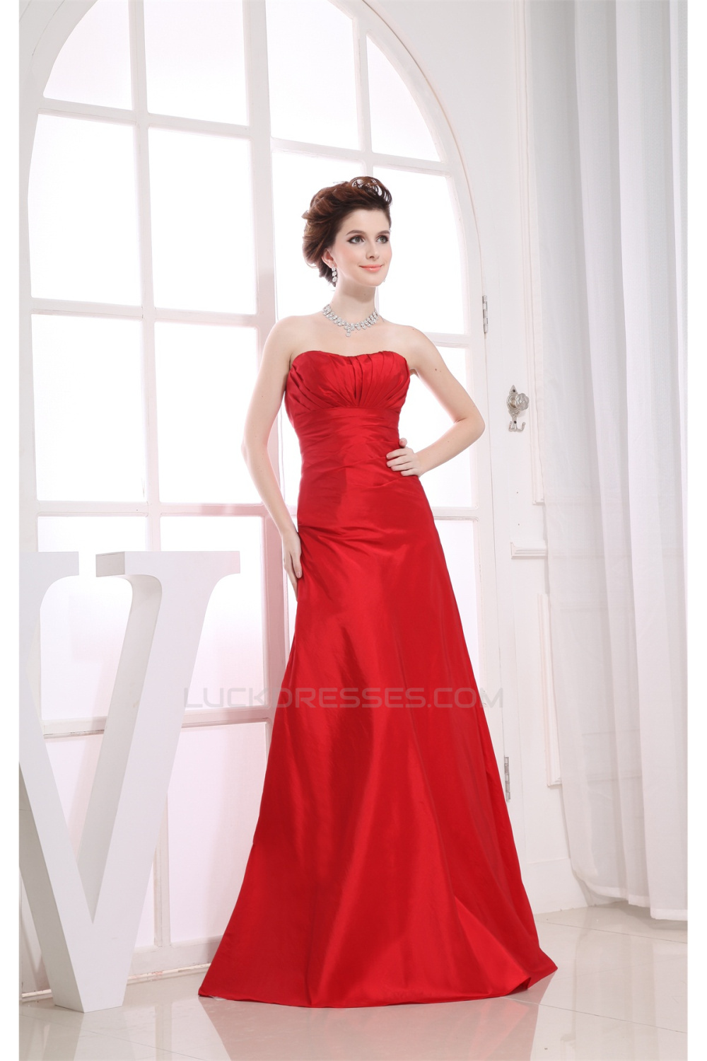 Strapless Taffeta Dress