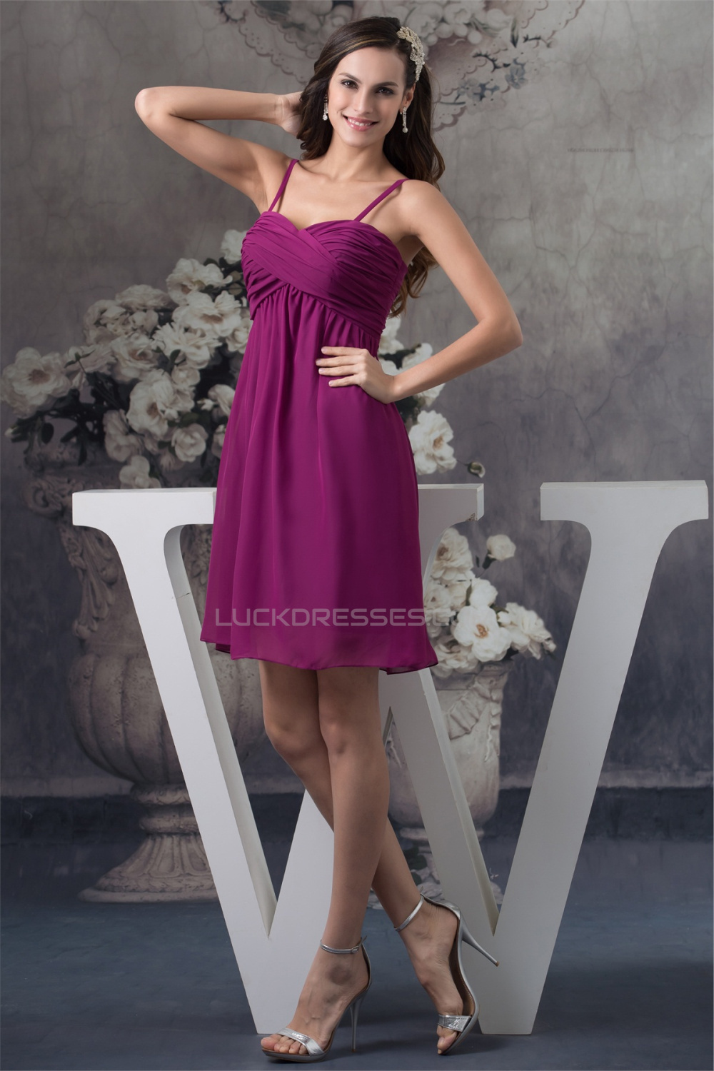 A Line Spaghetti Straps Chiffon Sleeveless Short Purple