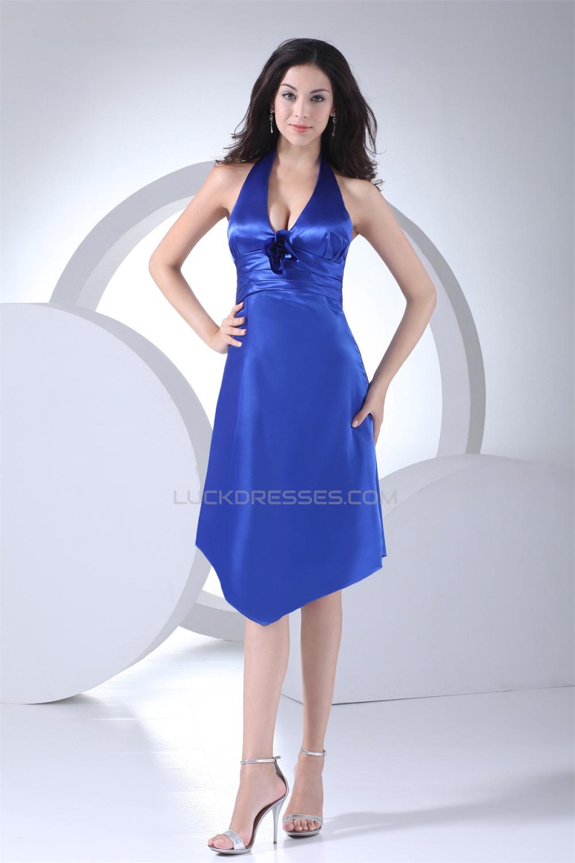 Amazing Sleeveless A Line Halter Short Blue Bridesmaid Dresses 02010255