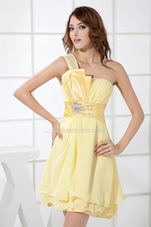 One Shoulder Short Yellow Bridesmaid Dresses,