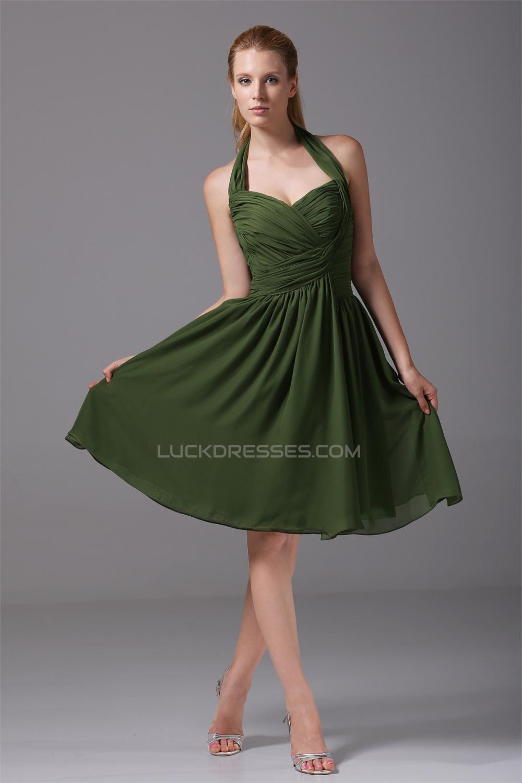 A Line Halter Knee Length Criss Cross Sleeveless Short Green Bridesmaid Dresses 02010282