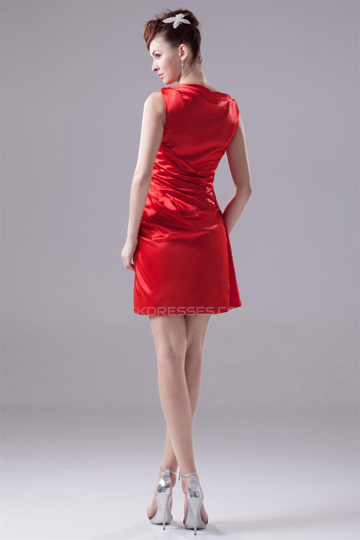 Elastic woven satin sheath column short mini red for Short mini wedding dresses