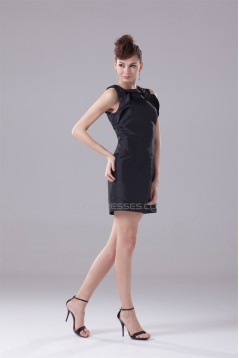Great Short/Mini Taffeta A-Line Scoop Falbala Black Bridesmaid Dresses 02010291