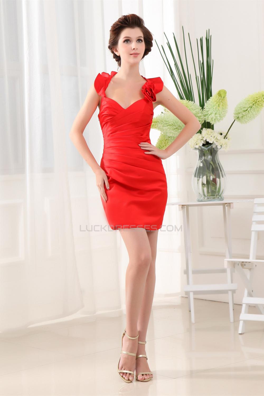 Halter satin ruffles sleeveless short mini red bridesmaid for Short mini wedding dresses