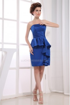 Knee-Length Sheath/Column Sleeveless Pleats Short Blue Bridesmaid Dresses 02010305