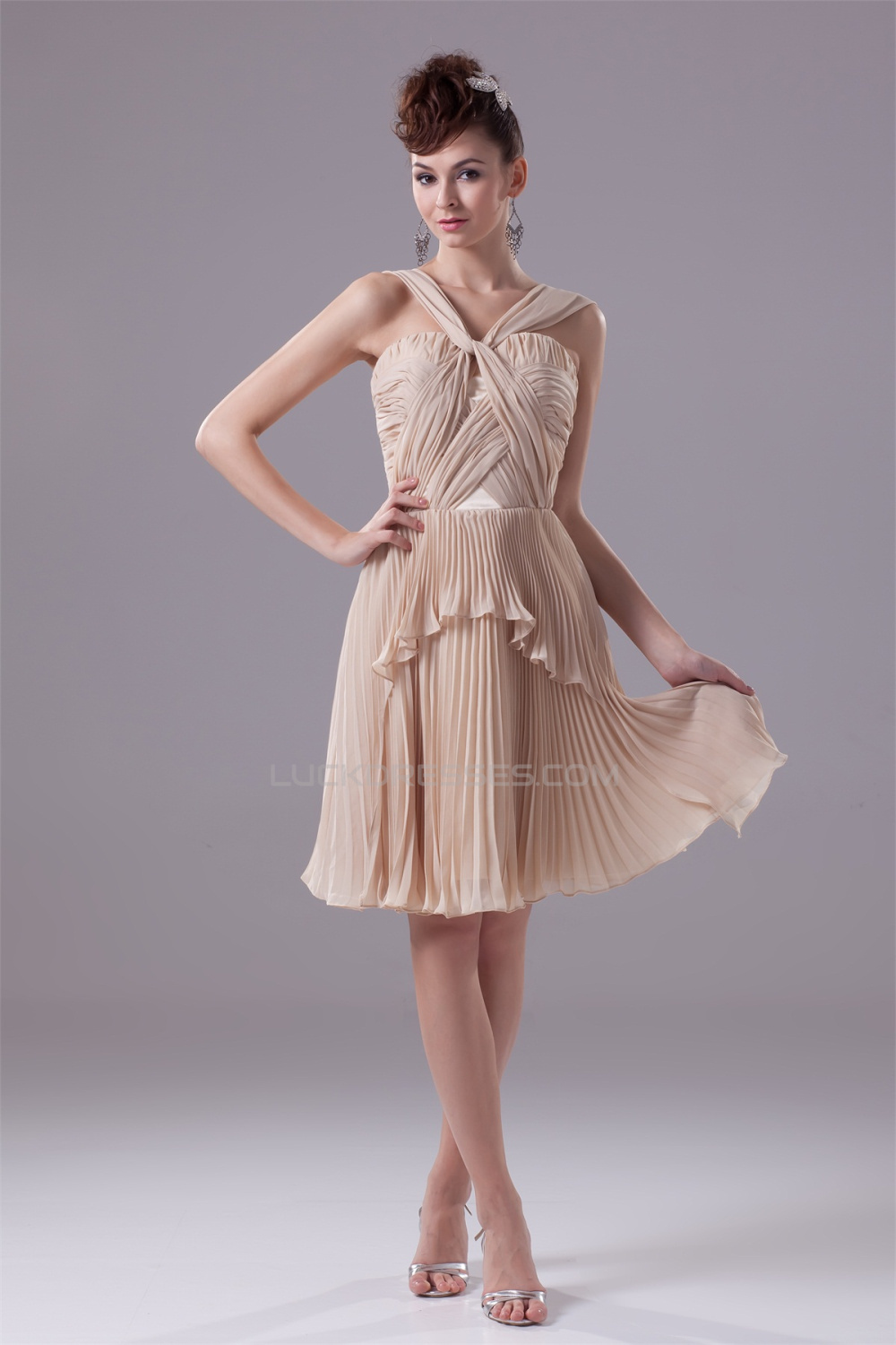 A Line Knee Length Pleated Chiffon Short Bridesmaid