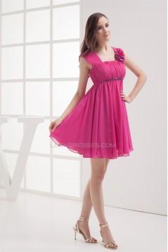 New Arrival Short/Mini Chiffon Straps Short Bridesmaid Dresses 02010310