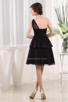 One-Shoulder A-Line Sleeveless Knee-Length One-Shoulder Short Black Bridesmaid Dresses 02010314
