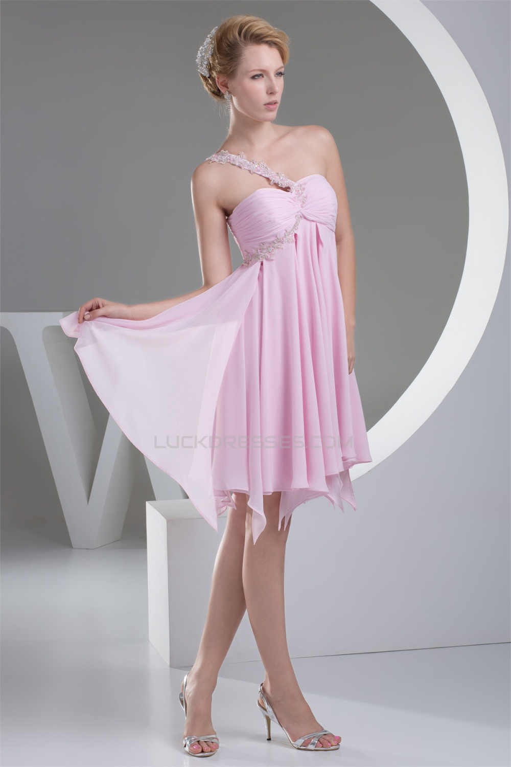 short maternity wedding dresses a line mini one shoulder chiffon pink 7353