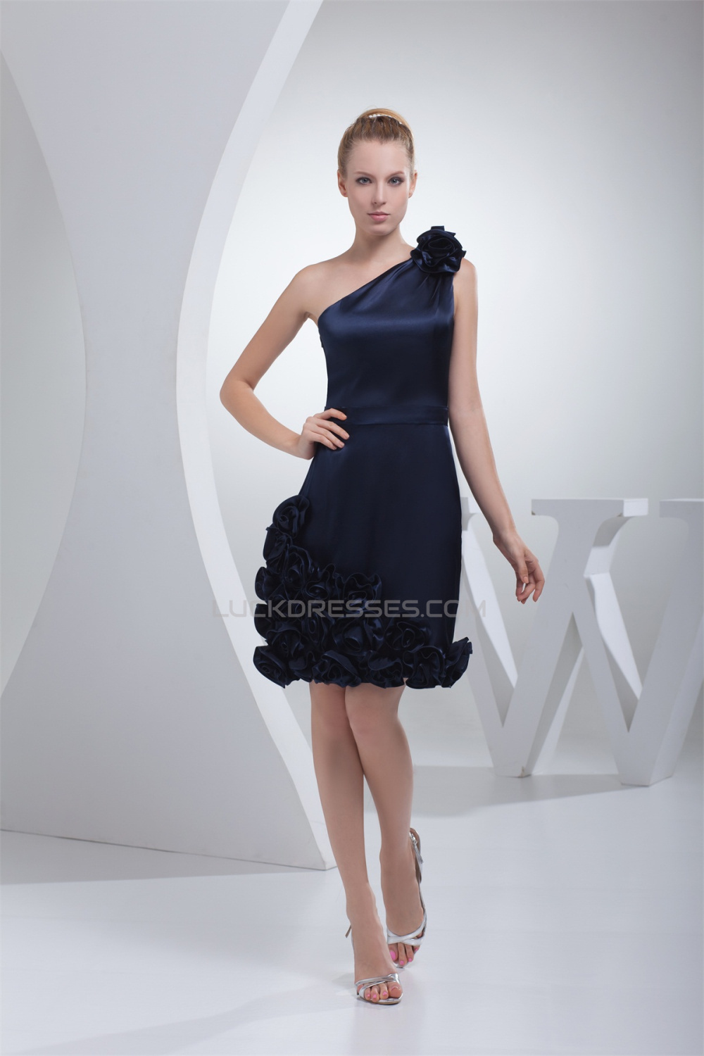 One Shoulder Handmade Flowers Knee Length Short Navy Blue