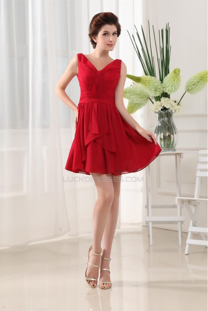 A Line Ruffles V Neck Chiffon Short Red Bridesmaid Dresses