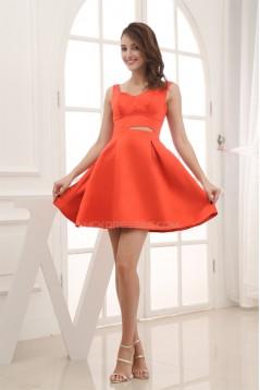 Satin Sleeveless Straps A-Line Short/Mini Bridesmaid Dresses 02010332