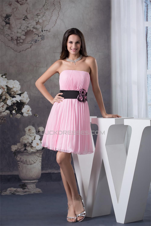 sheath column strapless chiffon short pink pleated bridesmaid dresses 02010340. Black Bedroom Furniture Sets. Home Design Ideas