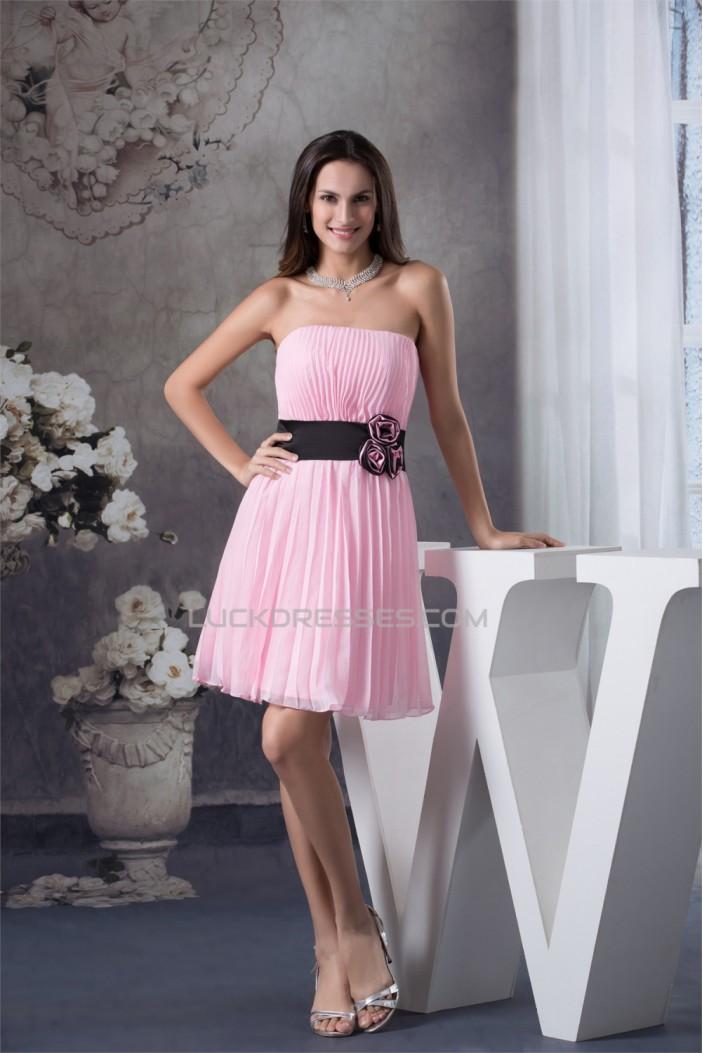 Sheath Column Strapless Chiffon Short Pink Pleated