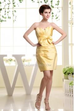 Sheath/Column Strapless Short/Mini Yellow Bridesmaid Dresses 02010356