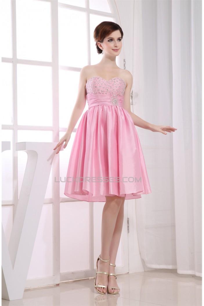 A-Line Short/Mini Sweetheart Beaded Taffeta Sleeveless Pink ...
