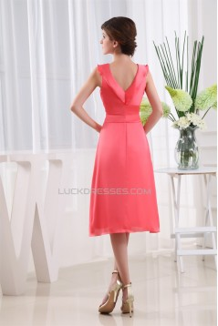 Silk like Satin Satin Chiffon Ruffles V-Neck Bridesmaid Dresses 02010360