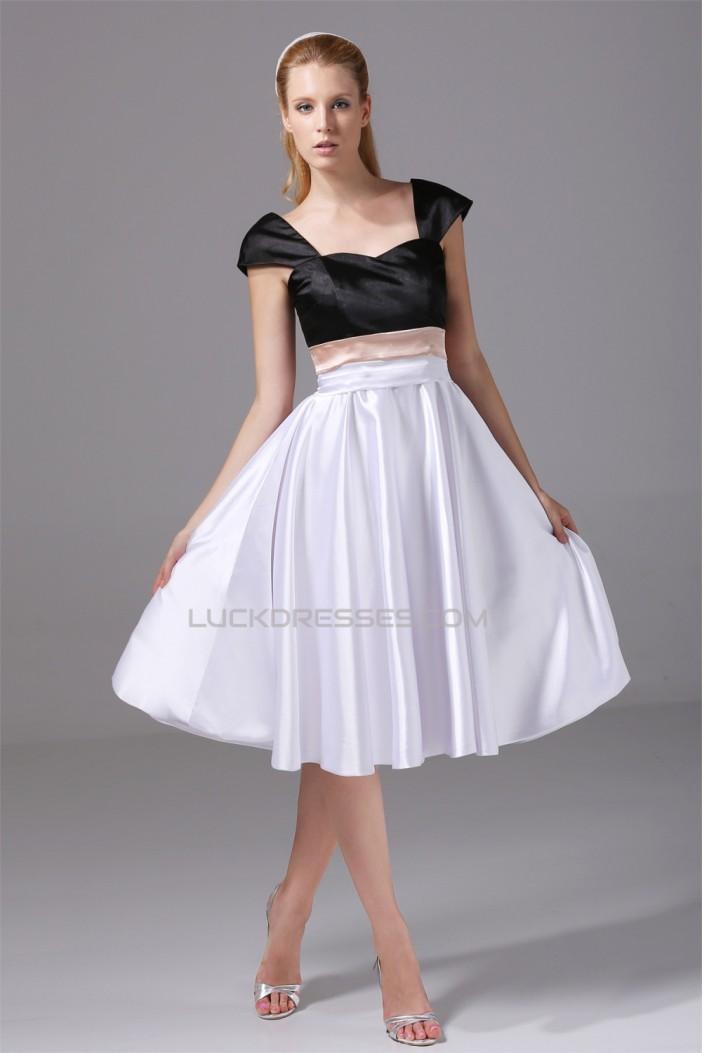 A-Line Silk like Satin Sweetheart Sleeveless Short Bridesmaid Dresses 02010363