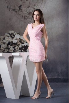 Sleeveless V-Neck Ruffles Sheath/Column Short Pink Bridesmaid Dresses 02010372