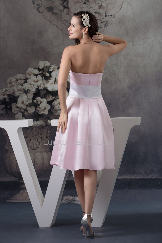 A Line Strapless Soft Satin Handmade Flowers Short Pink