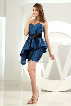 Sweetheart Sheath/Column Taffeta Sleeveless Short/Mini Bridesmaid Dresses 02010383