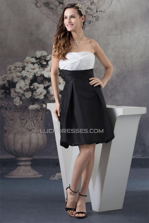 Black And White Bridesmaid Dresses   A Line Knee Length Strapless Sleeveless Black White Bridesmaid