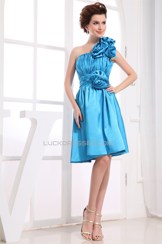 One Shoulder Sleeveless Silk Like Satin Short Blue Bridesmaid