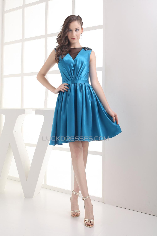 V-Neck Silk like Satin Fine Netting Sleeveless Bridesmaid Dresses ...