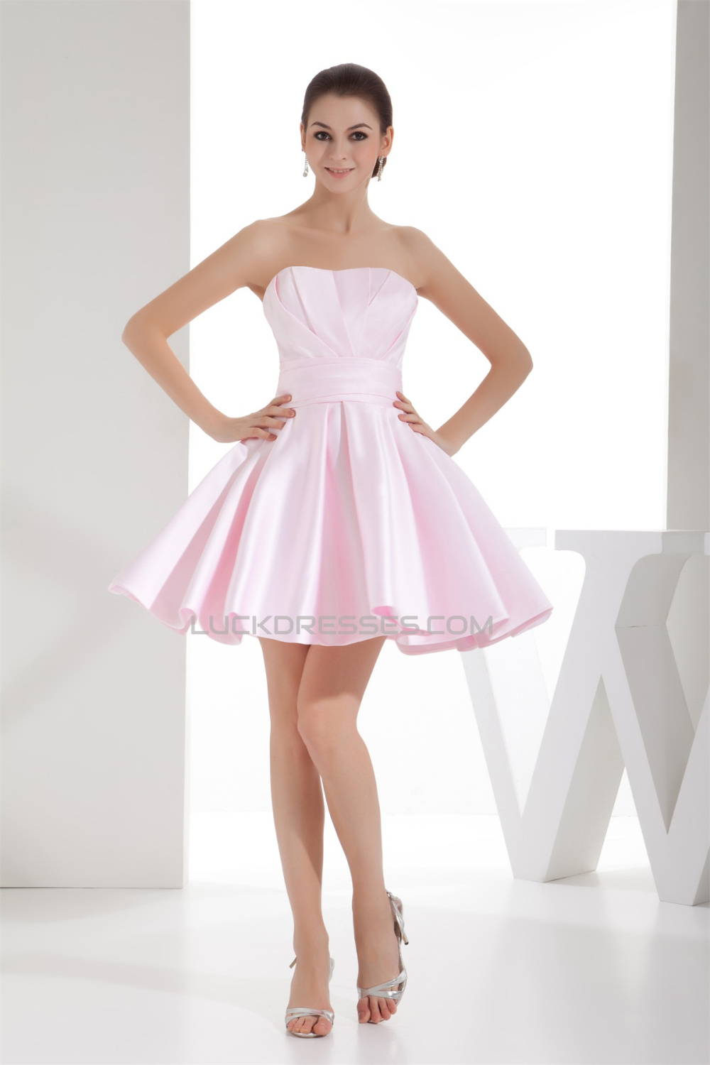 586060c726e A-Line Ruffles Satin Soft Sweetheart Short Mini Pink Bridesmaid Dresses  02010397