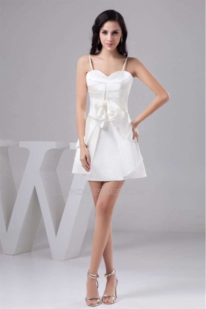 Bows Spaghetti Straps Silk Like Satin Short White