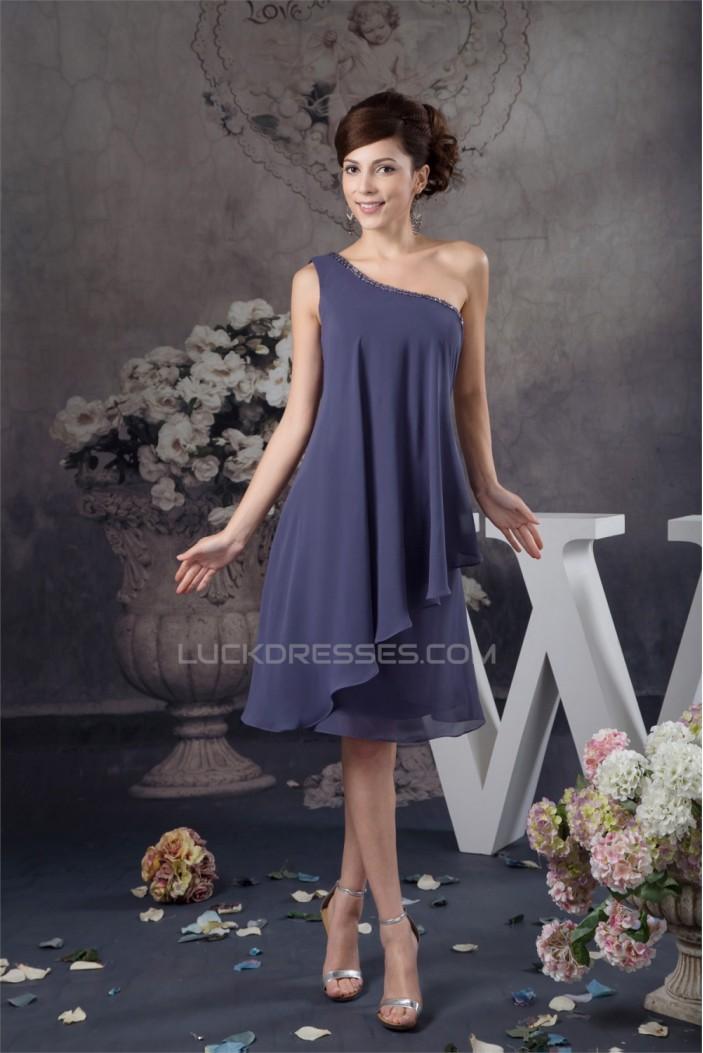 Knee-Length Sleeveless One-Shoulder Beading Short Bridesmaid Dresses 02010417