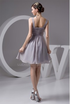 Knee-Length Spaghetti Straps Chiffon Short Bridesmaid Dresses 02010418