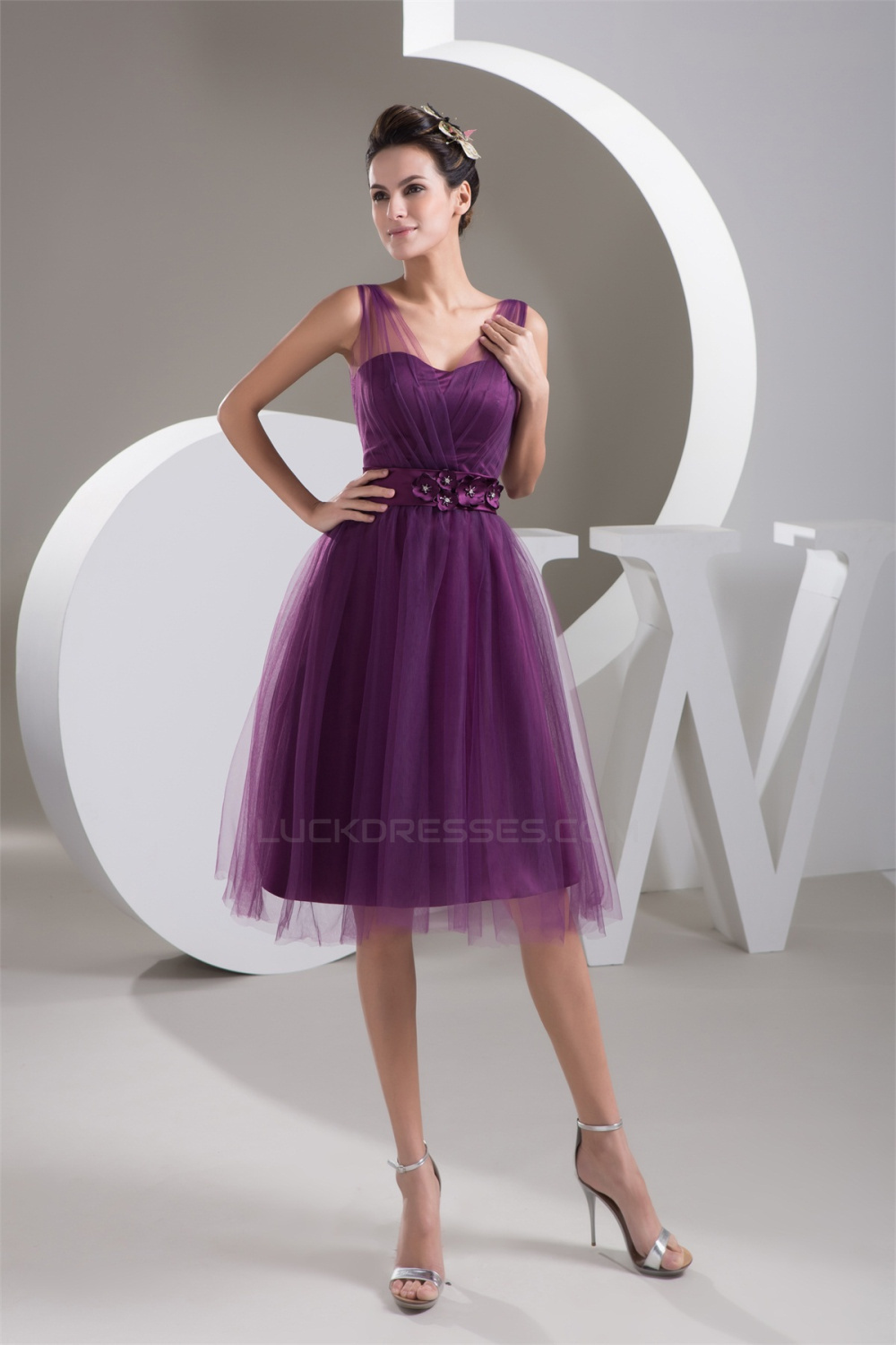 Fine Netting V-Neck Knee-Length Short Purple Bridesmaid Dresses 02010421