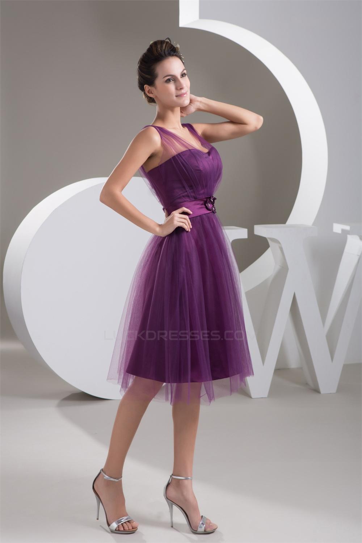 Fine netting v neck knee length short purple bridesmaid dresses satin fine netting v neck knee length short purple bridesmaid dresses 02010421 ombrellifo Image collections