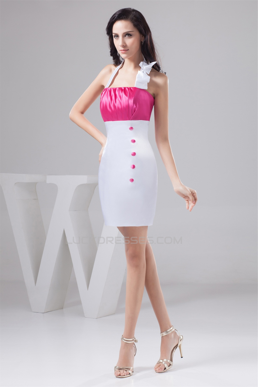 Short mini sheath column halter sleeveless short for Short halter wedding dresses