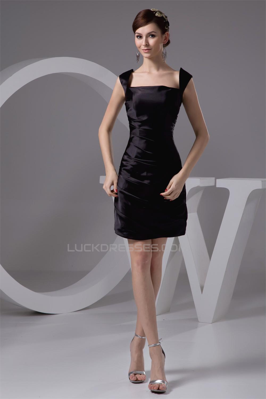 Silk Like Satin Short Mini Sleeveless Straps Short Black