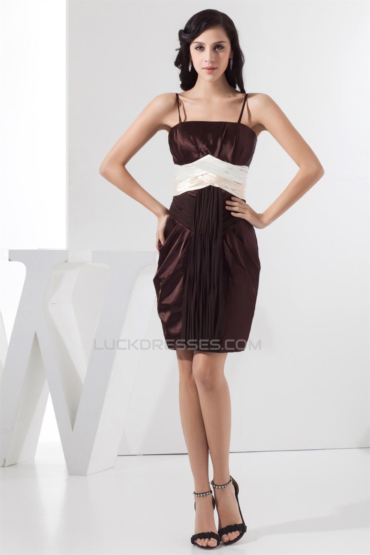 Sleeveless Chiffon Silk Like Satin Spaghetti Straps Short