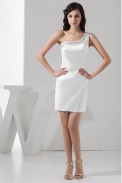 Sleeveless Satin One-Shoulder Short White Bridesmaid Dresses 02010439