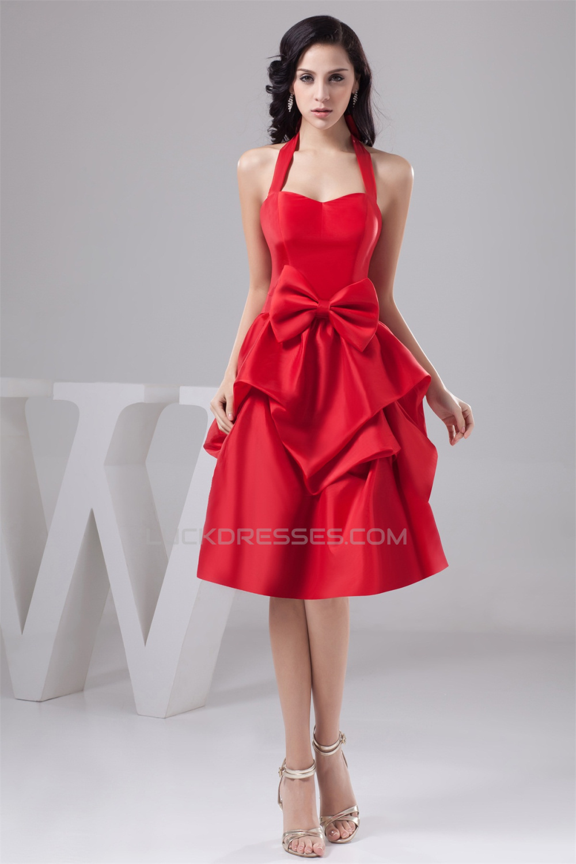 Short Red Bridesmaid Dresses | Taffeta Bows Halter A Line Knee Length Short Red Bridesmaid Dresses