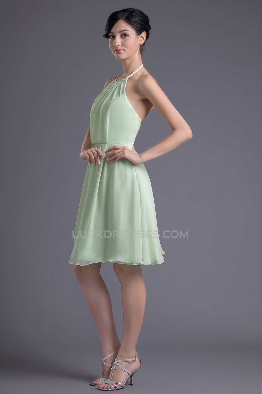 A Line Chiffon Ruffles Halter Short Bridesmaid Dresses