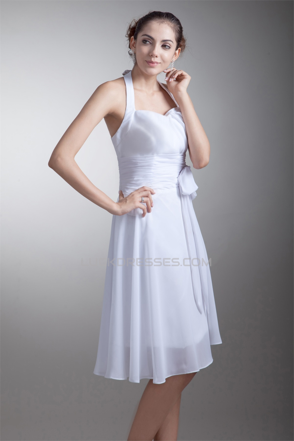 A Line Knee Length Chiffon Halter Short White Bridesmaid